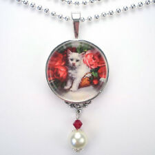 WHITE CAT KITTEN RED ROSES 'VINTAGE CHARM' SILVER OR BRONZE PENDANT NECKLACE