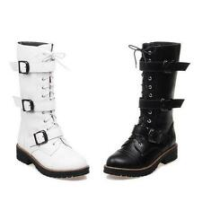Gothic Womens Motorcycle Riding Combat Buckle Shoes zip up Mid Calf Boots size
