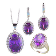 JS693 Nobby Purple Zircon Silver Earring Necklace Fashion Jewelry Sets Rings