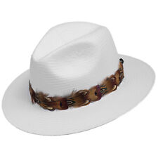 Alda Feather Trim Woven Fedora Panama Straw Hat