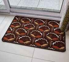 FLORAL FAN BROWN SMALL MEDIUM LARGE RUG RUNNER SOFT MODERN RUGS NON SHED MATS