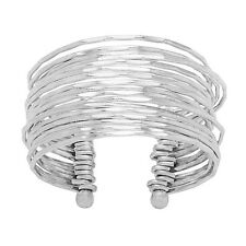 Handmade Wide Hammered Layered Sterling Silver Cuff Bracelet (India)