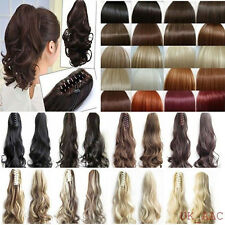 Lady Clip In Ponytail Pony Tail Hair Extension Claw On Hair Piece curly wavy p78