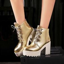 Ladies Womens Lace Up Platform High Block Heels Ankle Boots gold silver Shoes