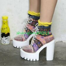 Womens Vogue Lace Up High Block Heel Platform Ride Punk Clear Ankle Boots Shoes