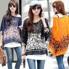 Women Ladies Summer Floral Batwing Sleeve Loose Blouse Tops Shirt T-Shirt W3LE