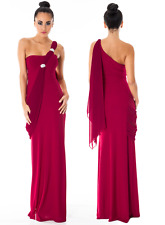 FULL LENGTH BERRY EVENING PROM PARTY FORMAL BALL GOWN MAXI DRESS Sze 8-16 CRUISE