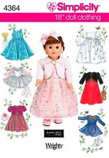 "Simplicity Sewing Pattern 4364 Dresses & Jackets for 18"" Doll"