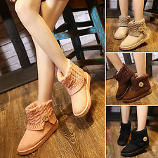 New Womens Knitted Thicken Ankle Snow Boots Suede Wool Booties Winter Warm Shoes