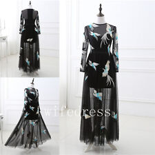 Sexy Embroidery Peacock Evening Dresses Long Sleeve Prom Party Bridesmaid Gowns