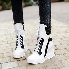 Womens Hidden wedge Heel Lace Up Ankle Boots High Top Sneakers sport Shoes size