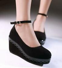 Womens Ladies Mary Janes Pumps Shoes Platform Creeper Wedge Heels ankle strap YT