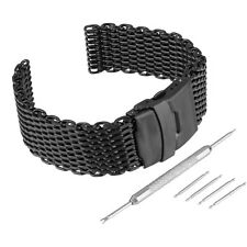 22/24mm Stainless Steel Shark Mesh Wrist Watch Band Strap Kit Fold Over Clasp