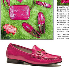 sz 37 38 NEW $595 GUCCI Hot Pink PATENT LEATHER Horsebit anniversary LOAFERS