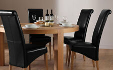 Brighton & Boston Round Oak Dining Room Table and 4 6 Leather Chairs Set (Black)