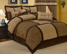 Brown Micro Suede Patchwork Comforter Set 7 Piece  All Sizes New LinenPlus ONLY