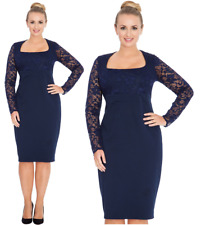 Goddiva Navy Square Neck Long Lace Sleeve Fitted Wiggle Cocktail Party Dress