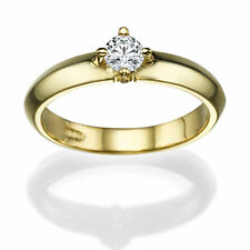 0.30 CT 18K Yellow Gold Solitaire Engagement Ring Size 10.75 Round G SI1 Diamond