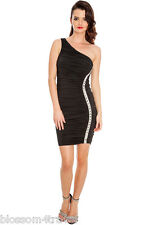 Black Figure hugging Diamante Trim One Shoulder Party Evening Dress Cocktail