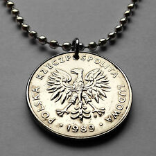 Poland 20 Złotych coin pendant white Polish EAGLE Polska necklace Warsaw n001542