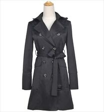 SEXY DOUBLE BREASTED FASHION BLACK Trench Coat Mac Jacket - SIZE  M
