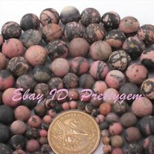 "Natural Rhodonite Multicolor Frost Round Gemstone Beads Strand 15"" 6,8,10,12mm"