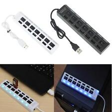 7 Port USB 2.0 HUB Powered +AC Adapter Cable High Speed Charger Extender Desktop