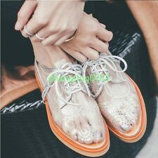 Womens Retro Chic Transparent Clear Lace Up Oxfords Brogue Spring Shoes Pumps