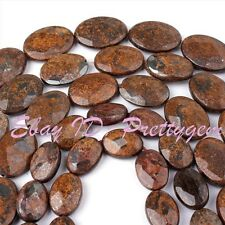 """Natural Brown Bronzite Faceted Oval Gemstone Beads Strand 15"""" 15x20,13x18,10x14m"""
