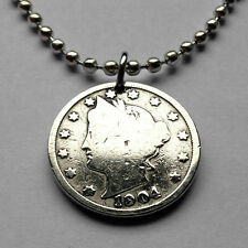 """USA 5 cent Lady Liberty Head """"V"""" Nickel  coin pendant American necklace n001239b"""