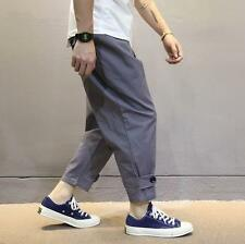 Chic Mens Casual Loose Fit Harem Baggy Cotton Pants cropped trousers