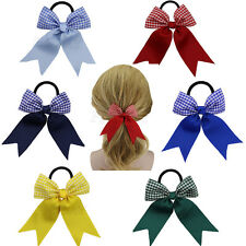 "3.5"" School Gingham Ribbon Hair Bows Pony Tail Holder Headwear Boutique Bowknot"