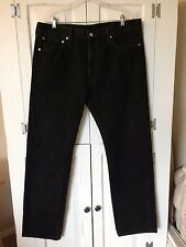 Levis 505 Black 100% Cotton Classic Fit Straight Leg Jeans Pants Mens Size 38x34