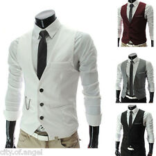 Mens Solid Formal Casual Dress Vest Slim Fit Suit Tuxedo Classic Waistcoat Coat