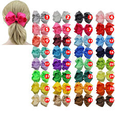 "1pcs 5"" Boutique Girls Baby Hair Bow Clip Grosgrain Ribbon Hairpin 32 Colors"