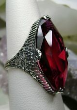 12ct Mq *Ruby* Victorian Floral Filigree Sterling Silver Ring {Made To Order}