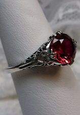 *Red Ruby* Sterling Silver Victorian/Deco Filigree Ring Size: {Made To Order}