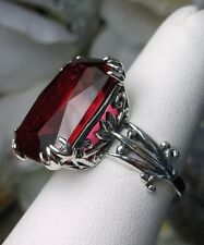 13ct *Ruby* Sterling Silver Floral Love Leaf Filigree Ring Size {Made To Order}