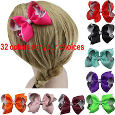 "1x4.5"" Boutique Baby Girls Grosgrain Ribbon Hair Bow Alligator Clip Hairbow"