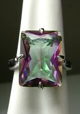 9ct Rectangle Rainbow *Mystic Topaz* Sterling Silver Filigree Ring size Any/MTO