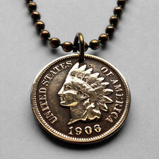 antique! USA Indian Head One Cent coin pendant NATIVE AMERICAN penny n000807