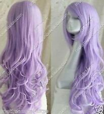 New 2017 Free shipping New Cos light purple long curly cosplay full wig