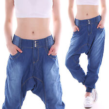 Boyfriend Jeans Chinos Baggy Harem Pants Low-rise blue M11