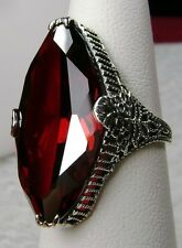 13ct Marquise *Garnet* Victorian Filigree Sterling Silver Ring {Made To Order}