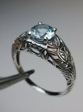 Edwardian Wedding *Aquamarine/Blue*Sterling Silver Filigree Ring {Made To Order}