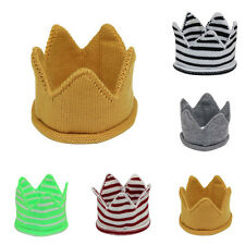 0-12M Baby Boys Girls Soft Crochet Knitted Crown Hat Cap 5 Colors for Choice