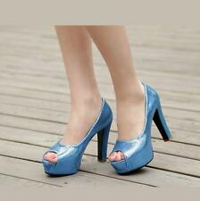 New Bling Womens Peep Toe Platform stage Shoes chunky Heel Party Plus SZ sandals