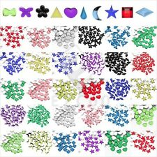 1000pcs Acrylic Flatback Rhinestones Beads Nail Art Star Heart Flower Square HC