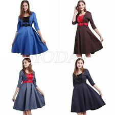 Womens Vintage 1950s Swing Tea Dresses Retro Rockabilly Pinup Flared Dress