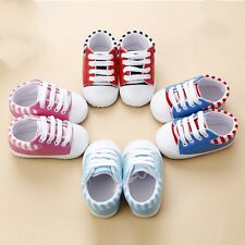 Toddler Baby Boy Girl Lacing Strap Crib Shoes PU Sneaker Striped 0-12 Months New